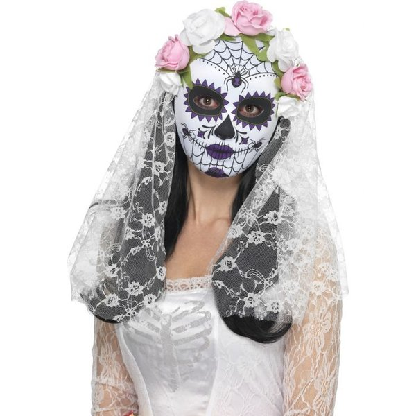 Day of the Dead Braut Maske mit Schleier+Rosen