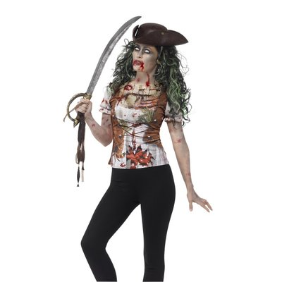 Smiffys Zombie Pirate Wench T-Shirt