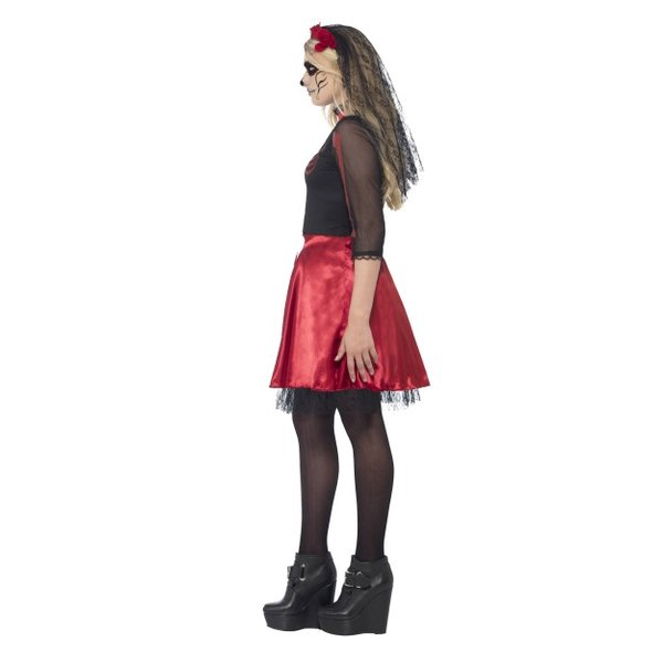 SM-COS-XS-BLK/RED-DAY OF THE DEAD DIVA COSTUME