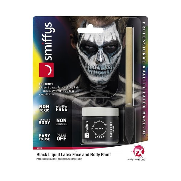 Smiffys liquid Latex Pot 59,1 ml + Schwamm schwarz